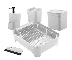 Kit Cozinha Lixeira 2,5L Escorredor Louças Talheres Dispenser Detergente Porta Esponja Rodinho - KTE 060 Ou - Branco