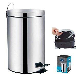 Lixeira Inox 3 Litros Cesto De Lixo Com Pedal Balde Removível Cozinha Ágata - 8221 Mor