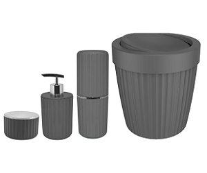 Kit Banheiro Lixeira Basculante 5L Porta Escovas Algodão Dispenser Sabonete Chumbo - KTE 061 Ou