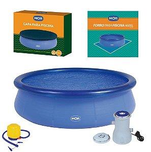 Kit Piscina Inflável Splash Fun 4600 Litros  + Capa + Forro + Filtro + Inflador - Mor