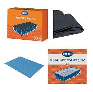 Kit Capa + Forro Para Piscina Premium 6200 Litros - Mor