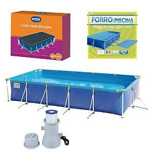 Kit Piscina Premium 7600 Litros + Filtro Bomba + Capa + Forro - Mor