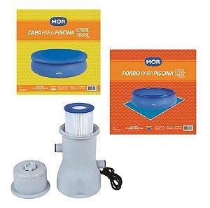 Kit Filtro 3600 L/h + Capa + Forro Para Piscina Splash Fun 6700 E 7800 Litros  - Mor