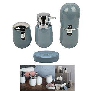Conjunto Banheiro Belly Pia Saboneteira Porta Escova Algodão -  KTE 008 Ou - Azul