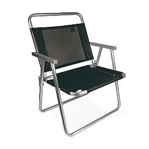 Cadeira De Praia Oversize Alumínio 140 Kg Camping - Mor - Preto