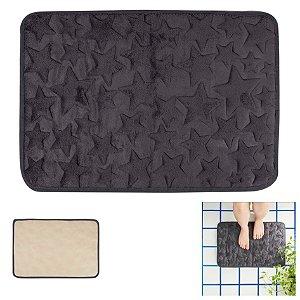 Tapete Memory Foam Banheiro 60x40cm Poliéster Antiderrapante Estrelas - 4321 Mor