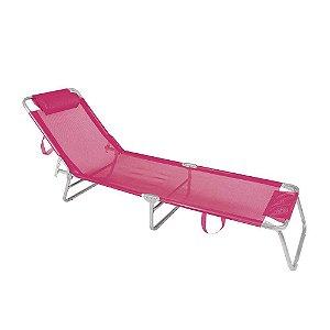 Cadeira Espreguiçadeira 4 Posições Alumínio Piscina Praia  - Mor - Rosa