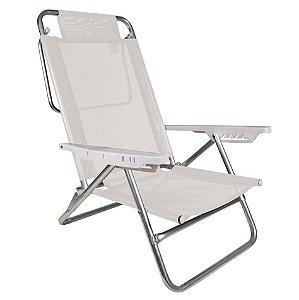 Cadeira Reclinável Summer 6 Posições Alumínio Praia Camping - Mor - Branco