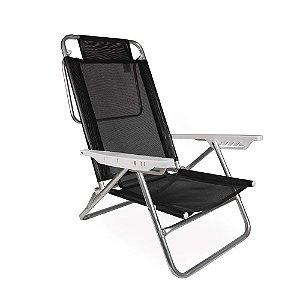 Cadeira Reclinável Summer 6 Posições Alumínio Praia Camping - Mor - Preto