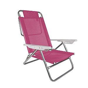 Cadeira Reclinável Summer 6 Posições Alumínio Praia Camping - Mor - Rosa