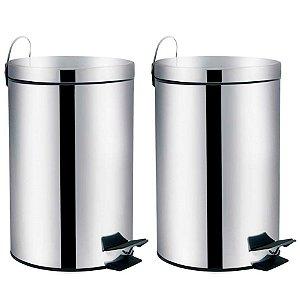 Kit 2 Lixeira Aço Inox 5 litros Cesto De Lixo Com Pedal Balde Cozinha Banheiro Agata - Mor