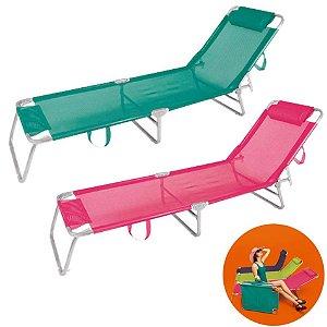 Kit 2 Cadeira Espreguiçadeira Alumínio Para Piscina Praia 4 Posições - Mor - Turquesa-Rosa