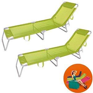 Kit 2 Cadeira Espreguiçadeira Alumínio Para Piscina Praia 4 Posições - Mor - Verde-limão