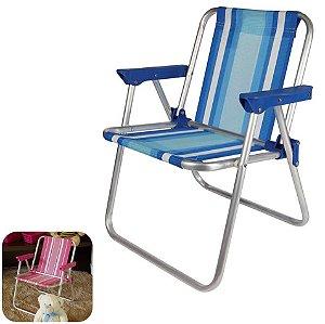 Cadeira Infantil Alta Alumínio Praia Camping - Mor - Azul