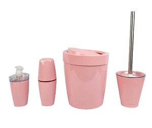 Kit Banheiro Lixeira Basculante 5L Suporte Escova Sanitária Porta Escovas Dispenser Sabonete Rosa - Ou