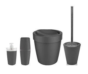 Kit Banheiro Lixeira Basculante 5L Suporte Escova Sanitária Porta Escovas Dispenser Sabonete Chumbo - Ou