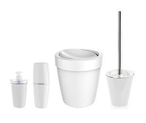 Kit Banheiro Lixeira Basculante 5L Suporte Escova Sanitária Porta Escovas Dispenser Sabonete Branco - Ou