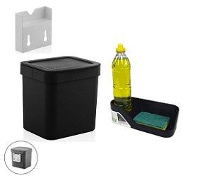 Kit Cozinha Suporte Lixeira 2,5L Organizador De Pia Porta Detergente Preto - Ou