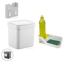 Kit Cozinha Suporte Lixeira 2,5L Organizador De Pia Porta Detergente Branco - Ou
