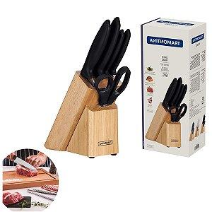 Jogo Facas 6 Peças Inox com Suporte Cepo Cabo Plástico Cozinha Gourmet 23498015 Tramontina - Preto