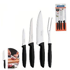 Jogo Faca Plenus inox 4 Peças Cabo Plástico Churrasco Cozinha Gourmet - 23498031 Tramontina - Preto