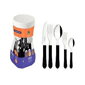Faqueiro Jogo Talheres 20 Peças Inox Cabo Plástico Cozinha leme Preto  - 23198018 Tramontina - Preto