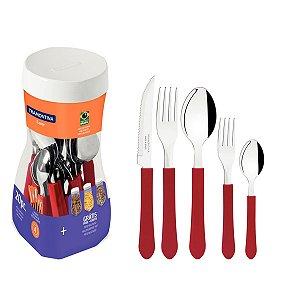 Faqueiro Jogo Talheres 20 Peças Inox Cabo Plástico Cozinha leme Vermelho - 23198718 Tramontina - Vermelho