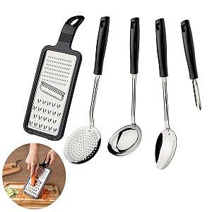 Jogo Espátulas Utensílios Inox  5 Peças Cabo Plástico Cozinha Easy - 25299013 Tramontina - Preto