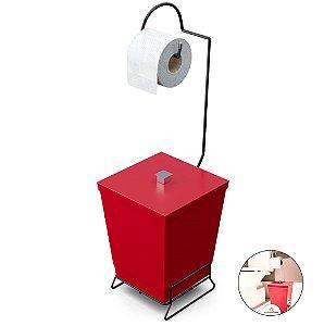 Porta Papel Higiênico Com Lixeira Banheiro Lavabo Suporte Preto Fosco - 1445 Stolf - Vermelho