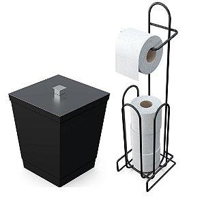 Kit Lixeira 6,5l Tampa Puxador + Suporte Porta Papel Higiênico Chão Banheiro - Stolf - Preto