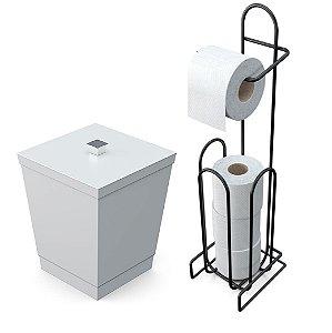 Kit Lixeira 6,5l Tampa Puxador + Suporte Porta Papel Higiênico Chão Banheiro - Stolf - Branco