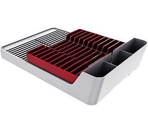 Escorredor De Pratos E Louças Para Pia Cozinha - Branco Crippa - Vermelho