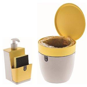 Kit Cozinha Dispenser Porta Detergente + Lixeira 2,5 Litros Pia - Branco Crippa - Amarelo