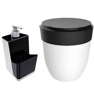Kit Cozinha Dispenser Porta Detergente + Lixeira 2,5 Litros Pia - Branco Crippa - Preto