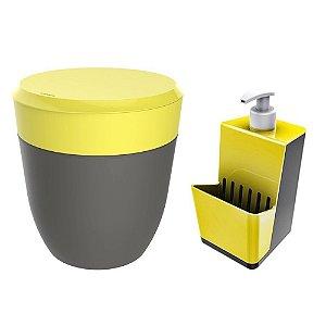 Kit Cozinha Dispenser Porta Detergente + Lixeira 2,5 Litros Pia - Crippa - Amarelo