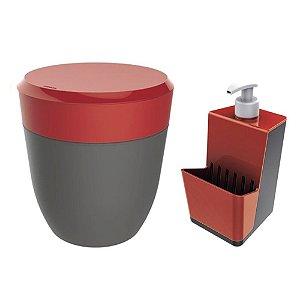 Kit Cozinha Dispenser Porta Detergente + Lixeira 2,5 Litros Pia - Crippa - Vermelho
