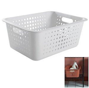 Caixa Cesto Organizador Grande 14,5l Plástico Multiuso Roupas Lavanderia Closet - CO 450 Ou - Branco