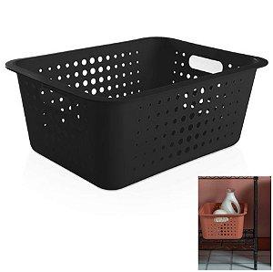 Caixa Cesto Organizador Grande 14,5l Plástico Multiuso Roupas Lavanderia Closet - CO 450 Ou - Preto