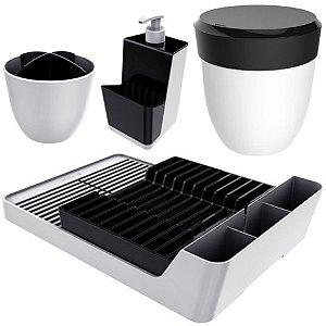 Kit Cozinha Escorredor Louças + Porta Talheres + Dispenser Detergente + Lixeira Pia - Branco Crippa - Preto