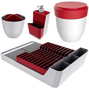 Kit Cozinha Escorredor Louças + Porta Talheres + Dispenser Detergente + Lixeira Pia - Branco Crippa - Vermelho