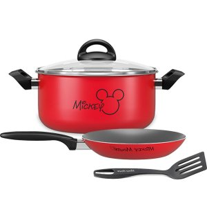 Kit Jogo Panela Alumínio Mickey Caçarola Frigideira Antiaderente Espátula Cozinha - Brinox - Vermelho