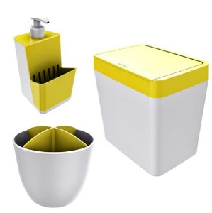 Kit Cozinha Pia Porta Dispenser Detergente + Lixeira 5L + Escorredor Talheres - Branco Crippa - Amarelo