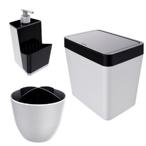 Kit Cozinha Pia Porta Dispenser Detergente + Lixeira 5L + Escorredor Talheres - Branco Crippa - Preto
