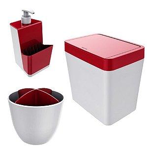 Kit Cozinha Pia Porta Dispenser Detergente + Lixeira 5L + Escorredor Talheres - Branco Crippa - Vermelho