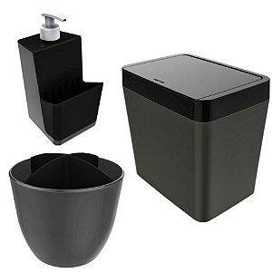 Kit Cozinha Pia Porta Dispenser Detergente + Lixeira 5L + Escorredor Talheres - Chumbo  Crippa - Preto
