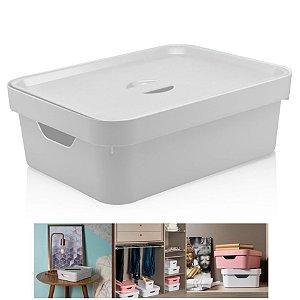Caixa Organizadora Cube 10,5l Cesto Com Tampa Closet Roupa - CC350 Ou - Branco