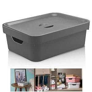 Caixa Organizadora Cube 10,5l Cesto Com Tampa Closet Roupa - CC350 Ou - Chumbo