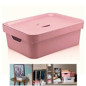 Caixa Organizadora Cube 10,5l Cesto Com Tampa Closet Roupa - CC350 Ou - Rosa