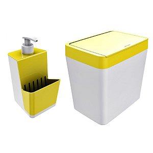 Kit Dispenser Porta Detergente + Lixeira 5 Litros Para Pia Cozinha - Branco Crippa - Amarelo