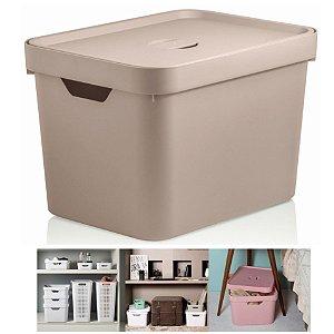 Caixa Organizadora Cube 18l Cesto Com Tampa Closet Roupa Grande - CC450 Ou - Bege